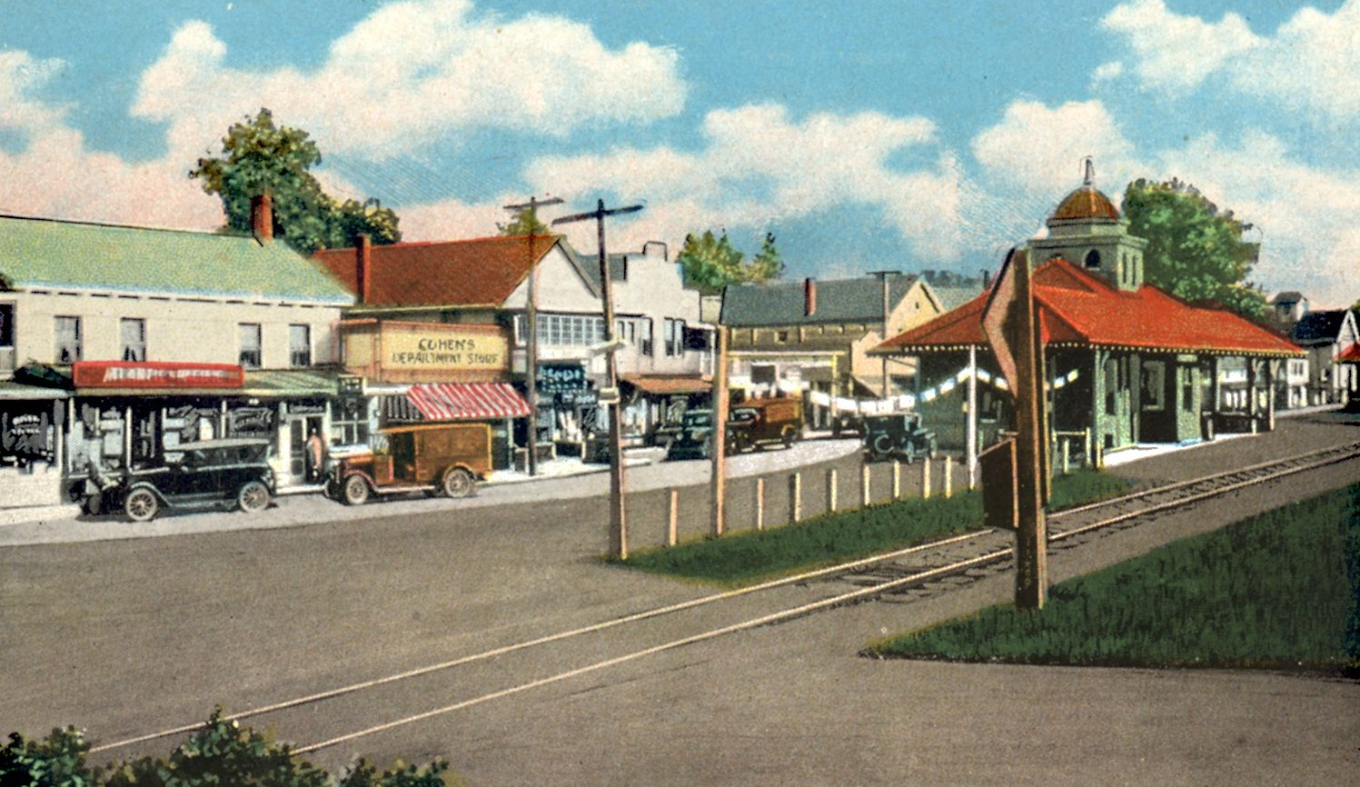"Circa 1920 postcard ""Business section and Railroad Station, Kerhonkson, NY."""