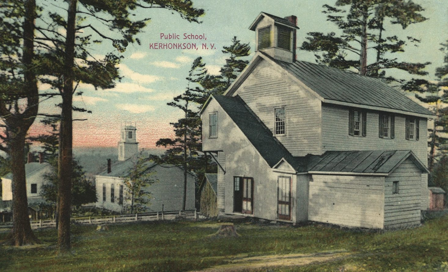 """The Public School, Kerhonkson, NY,"" postcard was sent in 1908. The church in the background is the ""RD (Reformed Dutch) Church""."