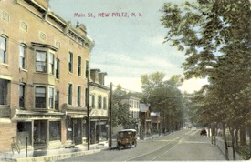 South side of Main St. east of Chestnut, now Rhino Records. Note New Paltz Highland Trolley track.