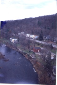2009 photo looking west toward High Falls, a view of the area known as Lawrenceville.