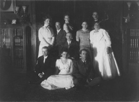 Borden family at home. Marion is on the right, center row; credit Historical Society of Shawangunk and Gardiner