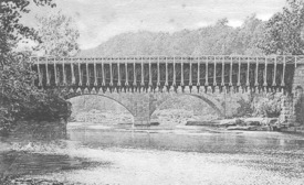 High Falls aqueducts at Rondout Creek. Roebling's suspension in front of arches.