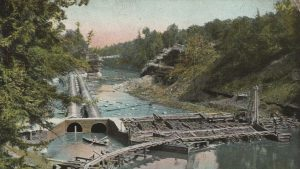 Coffer dam under construction, Olive Bridge, image circa 1908