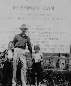 At the Merriman Dam. Lou Yess with his children, Lou and Vivian